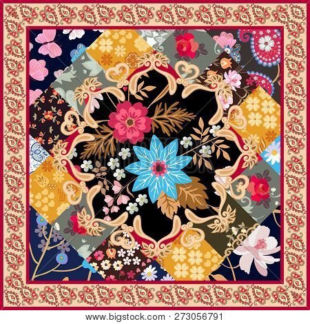 Square Silk Scarf With Stylized Mandala, Patchwork Ornament And Paisley Border In Vector. Ethnic Ori