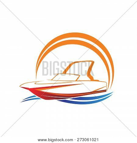 Sailing Boat Vector Logo With Sunset And Wave Ilustration Brand Identity For Boating Business. Ilust