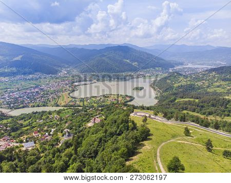 Aerial View To Bistrita River Valley, Some Villanges With Green Fields  And The Forest.