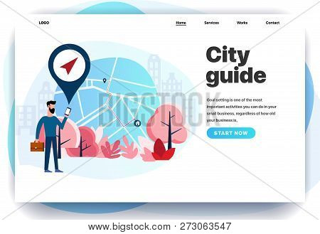 Web Page Design Templates For City guide, City Navigator, Gps, Mobile City Map, Navigation In The