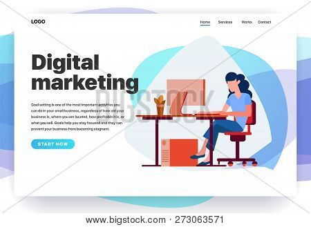 Web Page Design Templates For Digital Marketing, Consulting, Seo, Business Solutions. Modern Vector