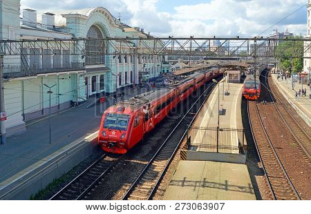 Russia, Moscow - July, 2017: Aeroexpress High-speed Train To Sheremetyevo Airport Is At The Platform