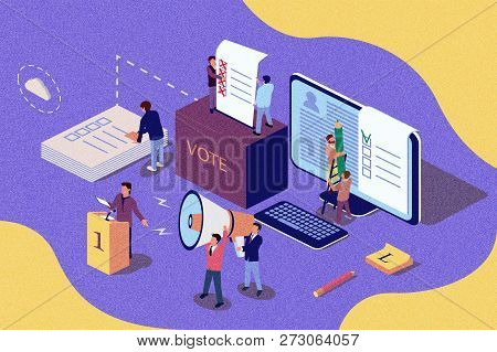 Isometric Vintage Illustration Concept. Group Of People Give Online Vote And Putting Papper Vote In