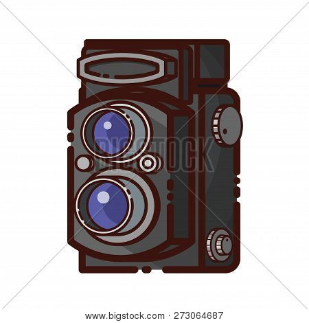 Old Twin Lens Reflex Camera. Line Style Retro Photography Device. Vector Illustration Of Vintage Cam