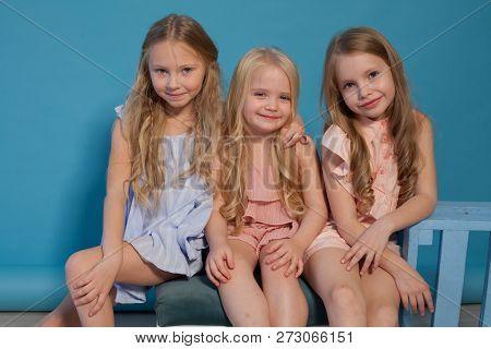 Three Beautiful Little Girls Dresses Fashion Portrait Sisters