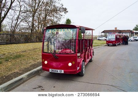 Cricova, Moldova - November 13, 2018: Small Electric Minibuses For Tourists At Cricova Winery. Crico