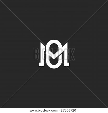 Monogram Letters Mo Or Om Initials Logo Design Element, Overlapping Two Letters M And O Together, We