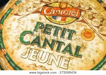 Belgrade, Serbia - November 22, 2018: Detail Of Petit Cantal Jeune Cheese In Belgrade, Serbia. Canta