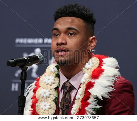NEW YORK-DEC 8: (L-R) Alabama Crimson Tide quarterback Tua Tagovailoa during a press conference before the Heisman Trophy ceremony on December 8, 2018 at the Marriott Marquis in New York City.