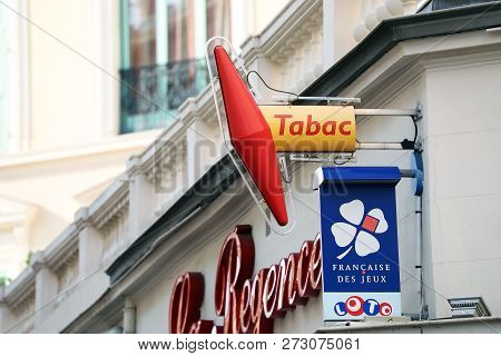 Menton, France - March 27, 2018: French Tobacco Shop With Loto Signs, Francaise Des Jeux (fdj) In Me