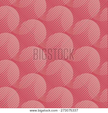 Coral Pink Color Abstract Background Pattern. Geometric Seamless Motif With Shades Of Trendy Pastel