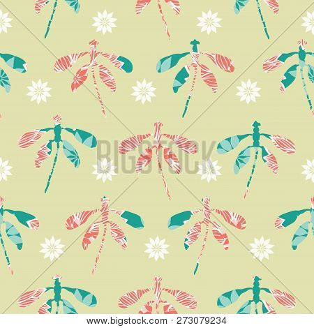 Collection Of Dragonfly Cutout Silhouettes With Floral Embellishment And Flowers Arranged In Rows In