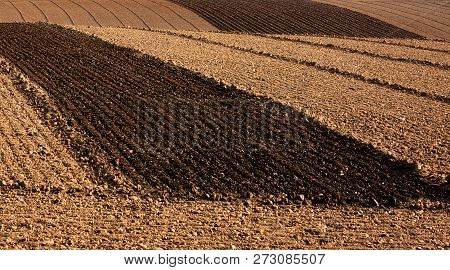 Freshly Ploughed Farm Fields Ready For Sowing
