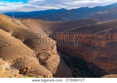 Great African Rocky Slope Todgha Gorge Canyon Landscapes At High Atlas Mountains Range At Dades Rive