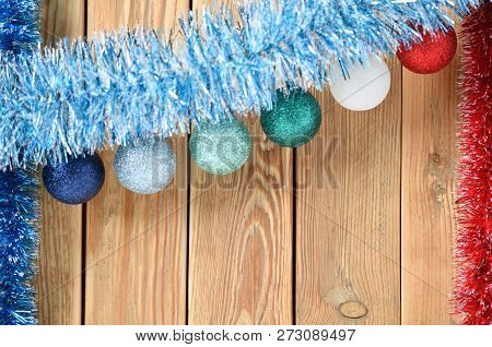 Christmas background with decorations on wooden board with copy space for text. New year theme for p