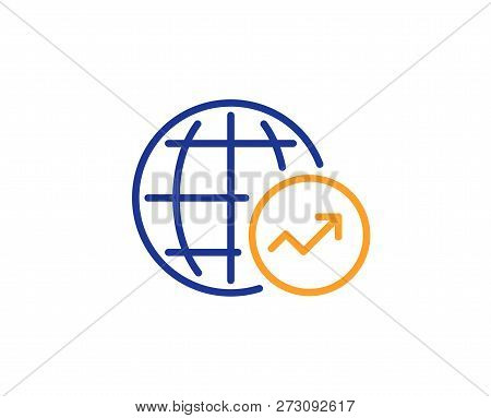 World Statistics Line Icon. Report Chart Or Sales Growth Sign. Data Analysis Graph Symbol. Colorful