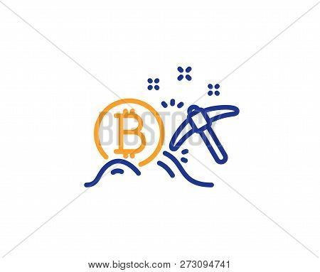 Bitcoin Mining Line Icon. Cryptocurrency Coin Sign. Crypto Money Pickaxe Symbol. Colorful Outline Co