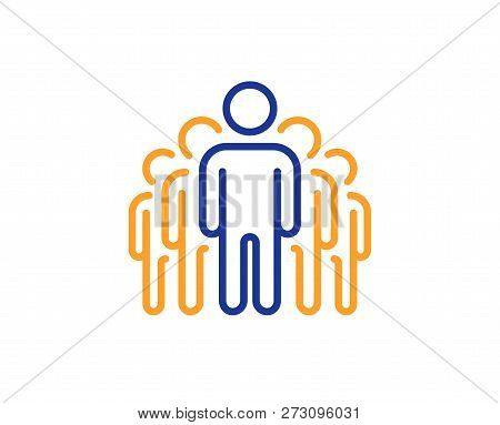 Group Line Icon. Business Management Sign. Teamwork Symbol. Colorful Outline Concept. Blue And Orang