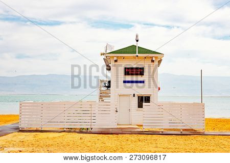 Lifeguard Station On The Beach Over Dead Sea.