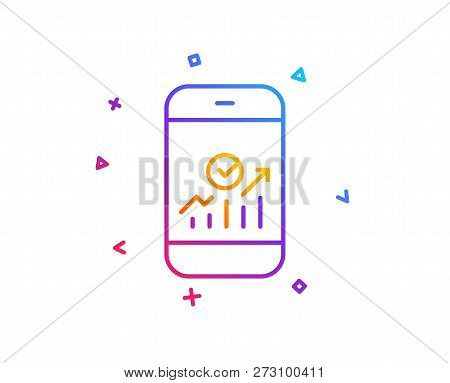 Smartphone Audit Or Statistics Line Icon. Business Analytics With Charts Symbol. Gradient Line Butto
