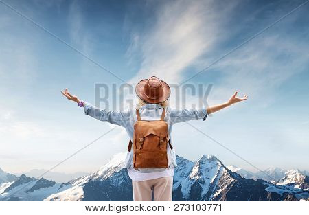 Traveler At The Mountains Landscape Travel And Active Life Concept. Adventure And Travel In The Moun