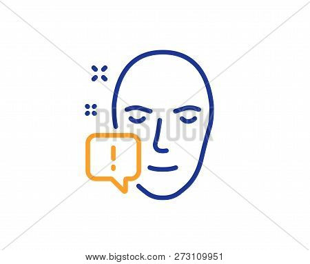 Face Attention Line Icon. Exclamation Mark Sign. Facial Identification Info Symbol. Colorful Outline