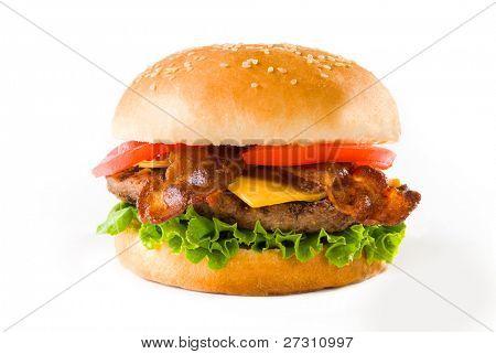 einen leckeren Speck Käse Burger auf weiß