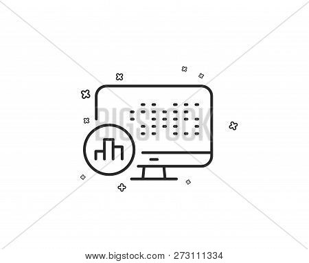 Report Statistics Line Icon. Column Graph Sign. Growth Diagram Symbol. Geometric Shapes. Random Cros