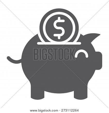 Piggy Bank Glyph Icon, Finance And Economy, Money Sign, Vector Graphics, A Solid Pattern On A White