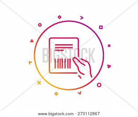Parcel Invoice Line Icon. Delivery Document Sign. Package Shipping Symbol. Gradient Pattern Line But