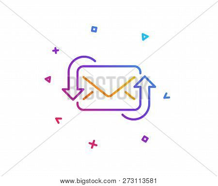 Refresh Mail line icon. New Messages correspondence sign. E-mail symbol. Gradient line button. Refresh Mail icon design. Colorful geometric shapes. Vector poster