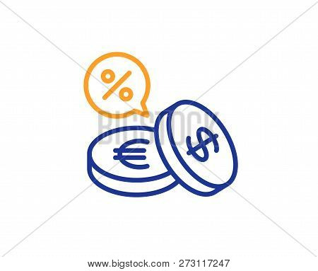 Coins Money Line Icon. Banking Currency Sign. Euro And Dollar Cash Symbols. Cashback Service. Colorf