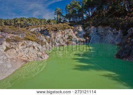Devils Bath Pond In Geothermal Park In New Zealand
