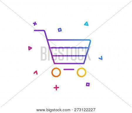 Shopping Cart Line Icon. Online Buying Sign. Supermarket Basket Symbol. Gradient Line Button. Market