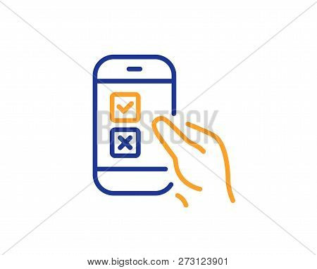 Mobile Survey Line Icon. Select Answer Sign. Business Interview Symbol. Colorful Outline Concept. Bl