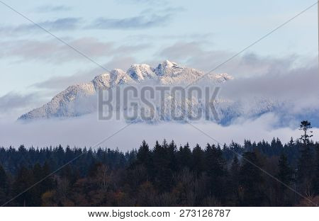 Snow Covered Grouse Mountain At Vancouver Bc Canada, Dec. 2018