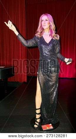 Montreal, Canada - September 23, 2018: Celine Marie Claudette Dion - Canadian Singer. Wax Museum Gre