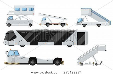 Passenger Airport Ground Technics Isolated Set In Flat Style. Tow Truck, Passenger Ladder, Modern Bu