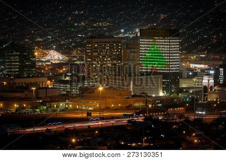 The Lights Of Downtown El Paso, Texas Decked Out For Christmas.