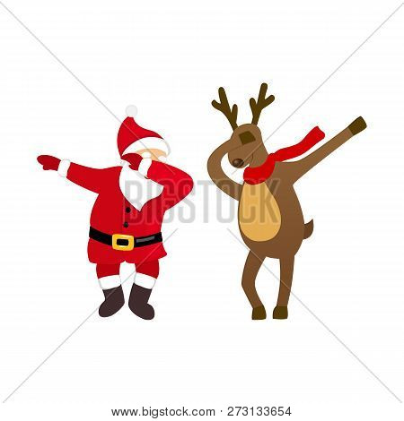 Funny Santa And Deer Dancing Dab Move, Quirky Cartoon Comic Characters, Isolated On White Background