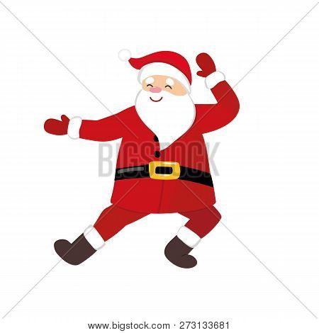Funny Cartoon Santa Dancing, Quirky  Comic Character In Traditional Christmas Costume, Russian Folk