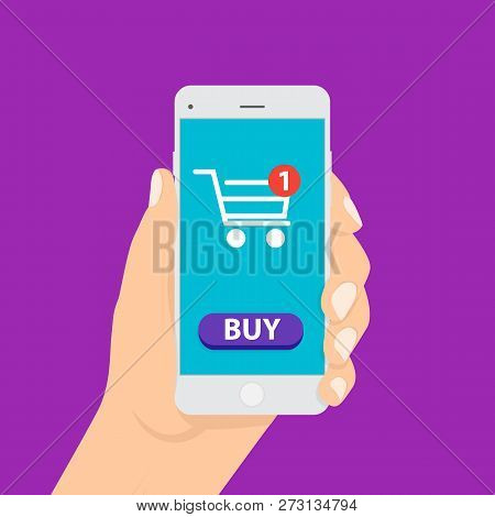 Shopping Online Business Conceptual Flat Style. Online Shopping. Smartphone Turned Into Internet Sho
