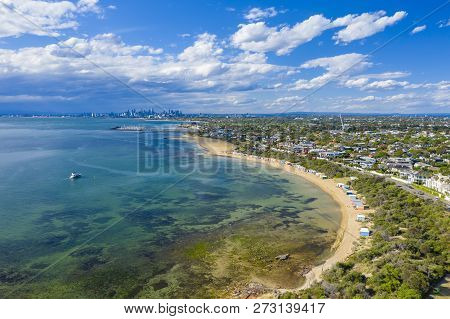 Melbourne, Australia - Nov 16, 2018: Aerial View Of Tourists Visiting The Brighton Bathing Boxes, Wi