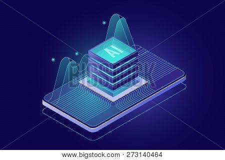 Microchip On Screen Of Mobile Phone, Programming Microcontroller Concept, Artificial Intelligence Ai