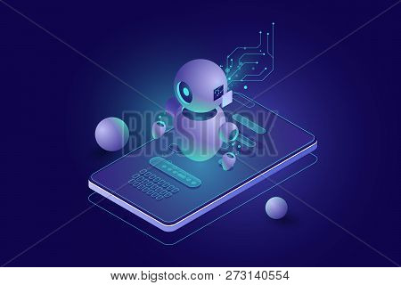 Chatbot Concept, Personal Helper, Machine Learning, Isometric Artificial Intelligence, Digital Marke