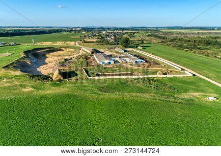 Small Livestock Farm. Evening Shooting. Aerial View