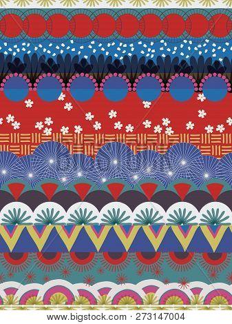 Japanese Tribal Pattern Red Blue White Teal. Seamless Vector Pattern. Kabuki Style. Japan Background