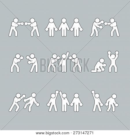 Boxing Stick Figures On Grey, Boxer Pictogram Icon, For Sport. Vector Illustration.