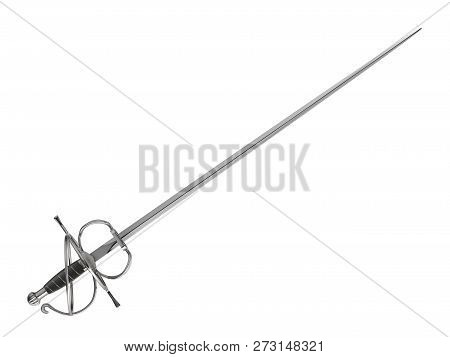 Medieval Fencing Sword Isolated On White Background - 3d Illustration