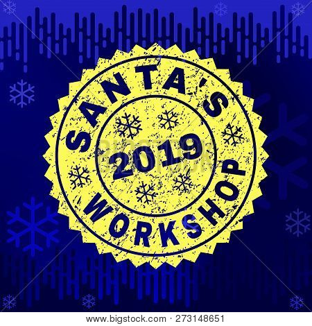 Grunge Round Santas Workshop Rosette Stamp Seal For 2019 Winter. Vector Santas Workshop Rubber Print